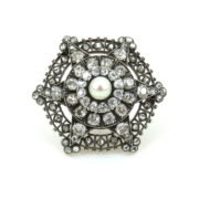 Antique 6.0ct Old Mine Cut Diamond & Natural Pearl Silver & Gold Brooch SM11-3