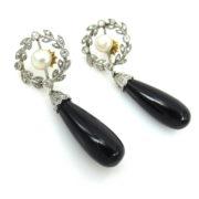 Antique 0.50ct Rose Cut Diamond Natural Pearl & Onyx Platinum & Gold Earrings MS11-4