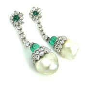 Antique 13.50ct French Cut Diamond 6.0ct Emerald & Pearl Platinum Drop Earrings SM11-5