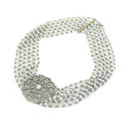 Antique 4.50ct Old Mine Cut Diamond & Pearl Platinum & Gold Necklace Chocker  KNT1-1