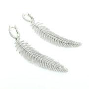 Unique 2.33ct Diamond & 18K White Gold Silk Feather Design Drop Earrings KNT1-2