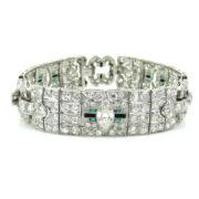 Antique Art Deco 10.50ct Old Cut Diamond Emerald & Onyx Platinum Bracelet KNT-3