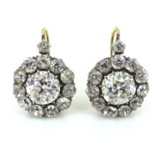 Antique 7.75ct Old Mine Cut Diamond Silver & 18K Gold Cluster Earrings KNT1-6