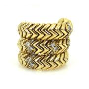 Estate Bulgari 0.56ct Diamond & 18K Yellow Gold Snake Ring KNT1-7