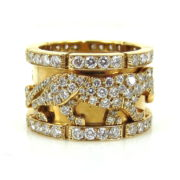 Rare Cartier Panther 5.0ct Diamond & 18K Yellow Gold Wide Band Size 53 KNT1-8