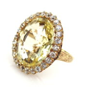 Vintage 21ct Natural Yellow Sapphire & 2.4ct Old Mine Cut Diamond 14K Gold Ring MH12-2