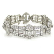 Vintage 12.0ct Diamond & Platinum Milgrain Decorated Wide Bracelet MH12-5