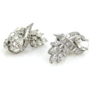 Estate GIA Certified 6.85ct Diamond & Platinum Floral Clip Earrings MH12-6
