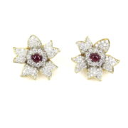 Vintage 4.50ct Diamond & 1.0ct Cabochon Cut Ruby 14K Yellow Gold Flower Earrings MH12-8