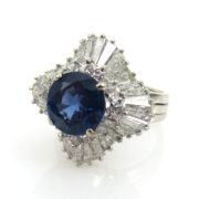 Vintage GIA 2.29ct Natural Untreated Sapphire & 3.25ct Diamond 14K Ballerina Ring SM19-2