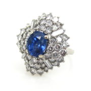 Vintage GIA 3.09ct Natural Untreated Sapphire & 3.50ct Diamond Platinum Pendant Ring SM19-3