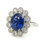 Estate 5.65ct Natural Sapphire & 1.50ct Diamond 14K White Gold Ring SM19-5