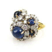 Vintage 3.0ct Diamond & 3.50ct Sapphire 18K Gold Hand Carved Ring SM19-6