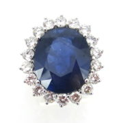 Unique 16.09ct Natural Sapphire 2.80ct Diamond 18K White Gold Princess Diana Ring SM15-2