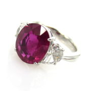 Estate GIA certified 4.14ct Natural Burma Ruby & 1.21ct Diamond Platinum Ring SM16-3