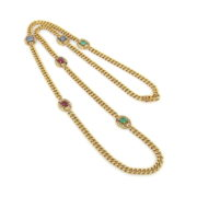 Vintage Diamond Sapphire Ruby & Emerald Cuban Link Long Necklace SM16-7
