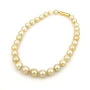 Vintage Italian 12-16mm Golden South Seas Pearl 18K Gold Necklace SM16-8