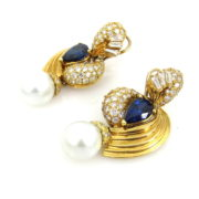 Vintage Sapphire Diamond & South Seas Perl 18K Gold Earrings SM18-1