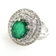 Fine 1.85ct Colombian Emerald & 1.0ct Diamond 18K White Gold Cocktail Ring SM18-2