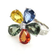 Estate 7.0ct Multi Color Sapphire & 0.50ct Diamond 18K White Gold Flower Ring SM18-3