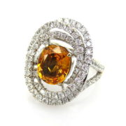 Estate 4.0ct Intense Yellow Sapphire & 1.85ct Diamond 18K White Gold Ring SM18-4