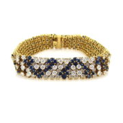 Vintage Hammerman Brothers Diamond & Sapphire 18K Yellow Gold Bracelet SM18-5