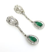 Vintage French 2.65ct Intense Green Emerald & 5.0ct Diamond Platinum Drop Earrings SM18-7