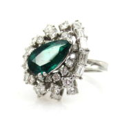 Estate 2.0ct Intense Green Colombian Emerald & 2.0ct Diamond Platinum Cluster Ring SM18-8