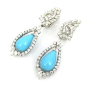 Vintage 8.50ct Diamond & Natural Turquoise Platinum Drop Earrings SM18-10