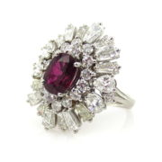 Vintage 1.40ct Vivid Red Ruby & 3.50ct Diamond Platinum Ballerina Ring SM19-1