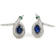 Vintage 1.75ct Diamond & 2.0ct Sapphire Platinum Snake Clip Earrings ED28-1