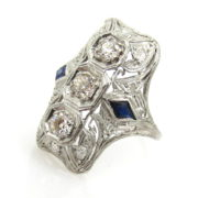 Antique 0.75ct Old Mine Cut Diamond & 0.30ct Sapphire Platinum Ring ED28-4