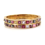 Vintage 22.0ct Sapphire Tourmaline Zircon Etc 14K Gold Decorated Bangle JW58-7
