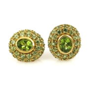 Vintage 7.50ct Natural Peridot & 18K Yellow Gold Dome Clip Earrings JW58-8