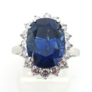 Estate 8.02ct Natural Untreated Sapphire 1.0ct Diamond Platinum Pendant Ring SM15-1