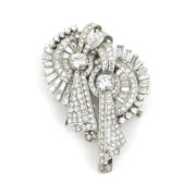 Vintage 10.50ct Diamond & Platinum Gold Double Clip Brooches SM15-4