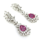 Estate 12.0ct Diamond & 8.80ct Pink Sapphire Platinum Drop Earrings SM15-5