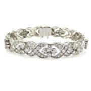 Vintage 8.0ct GH/VS Diamond & Platinum Wavy X Cluster Bracelet SM15-6
