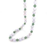 Vintage 0.33ct Old Mine Cut Diamond & Jade Bead 14K Gold Necklace DB4-1