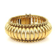 1940's Retro 18K Yellow Gold Hand Made Dome Bracelet ED29-1