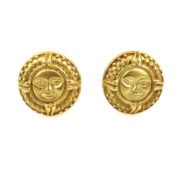 Vintage 18K Yellow Gold Sub Face Pierce Clip Earrings RM36-1