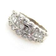 Vintage 1.50ct Round & Baguette Cut Diamond 14K Gold Ring JW62-1