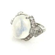 Vintage 0.78ct Old Cut Diamond & 8.0ct Moonstone Platinum Ring ED30-1