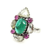 Vintage Rose Cut Diamond Emerald & Pink Sapphire 18K Gold Ring AN227-1