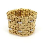 Vintage Prestige 3.0ct Diamond & 18K Gold Hand Made Wide Bracelet OA24-1