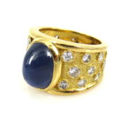 Vintage Julius Cohen 5.50ct Star Sapphire & 3.0ct Diamond 18K Yellow Gold Ring DB6-1