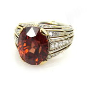 Vintage 8.0ct Orange Zircon & 0.96ct Diamond 18K White Yellow Gold Ring DB5-1