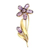 Rare 1950's Retro Tiffany & co 12.50ct Amethyst & 14K Yellow Gold Flower Brooch JW60-2