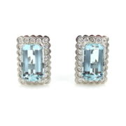 Estate 1.32ct Diamond & 16.0ct Aquamarine & 18K White Gold Pierce Clip Earrings DB4-2
