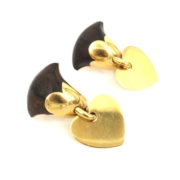 Ultra Rare Van Cleef & Arpels Wood & 18K Yellow Gold Earrings RM36-2